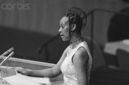 26 Sep 1974, Manhattan, New York, New York, USA. Elisabeth delivers a powerful message on behalf of Uganda to the UN Assembly