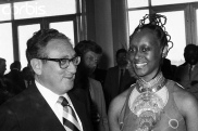 Secretary of State Henry Kissinger chats Elisabeth Uganda's Minister for Foreign Affairs